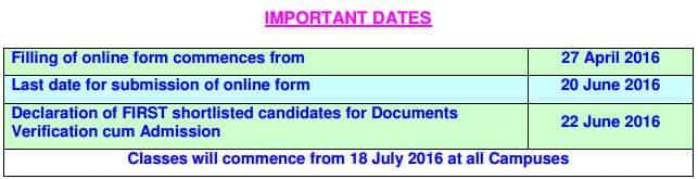 BIT Mesra BBA and BCA Important Dates