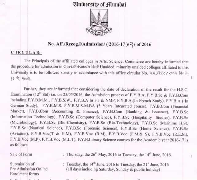 Mumbai University Notification