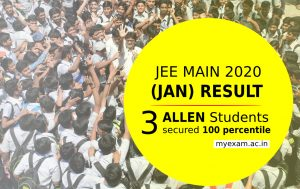 jee main result 2020 3 students of allen career institute secured 100 percentile